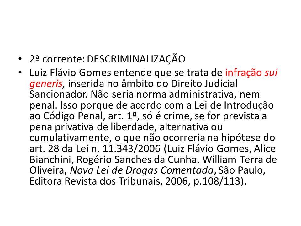 2ª corrente: DESCRIMINALIZAÇÃO Luiz Flávio Gomes entende que se trata de infração sui generis, inserida no âmbito do Direito Judicial Sancionador. Não