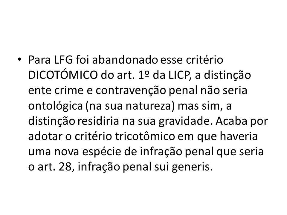Para LFG foi abandonado esse critério DICOTÓMICO do art. 1º da LICP, a distinção ente crime e contravenção penal não seria ontológica (na sua natureza