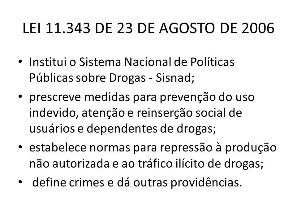 LEI 11.343 DE 23 DE AGOSTO DE 2006 Institui o Sistema Nacional de Políticas Públicas sobre Drogas - Sisnad; prescreve medidas para prevenção do uso in