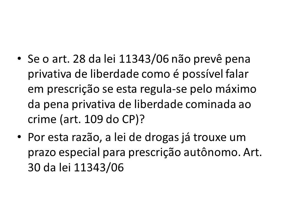 Se o art. 28 da lei 11343/06 não prevê pena privativa de liberdade como é possível falar em prescrição se esta regula-se pelo máximo da pena privativa