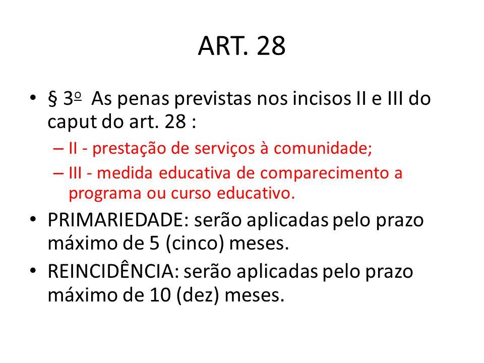 ART. 28 § 3 o As penas previstas nos incisos II e III do caput do art. 28 : – II - prestação de serviços à comunidade; – III - medida educativa de com