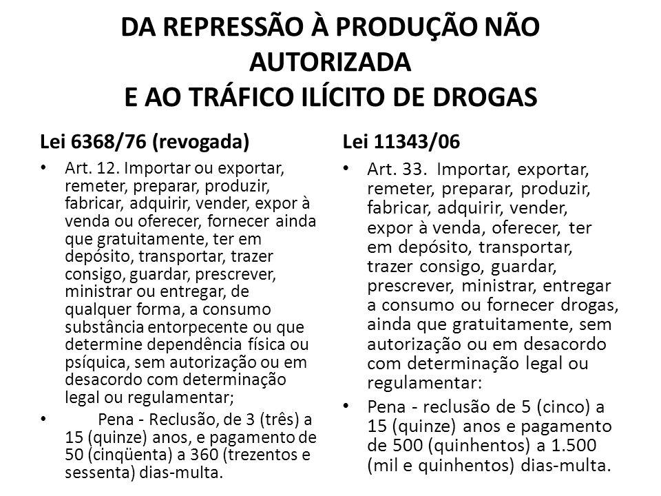 DA REPRESSÃO À PRODUÇÃO NÃO AUTORIZADA E AO TRÁFICO ILÍCITO DE DROGAS Lei 6368/76 (revogada) Art. 12. Importar ou exportar, remeter, preparar, produzi