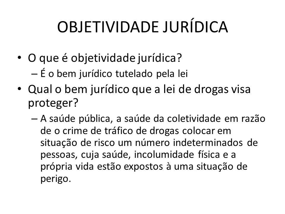 OBJETIVIDADE JURÍDICA O que é objetividade jurídica? – É o bem jurídico tutelado pela lei Qual o bem jurídico que a lei de drogas visa proteger? – A s
