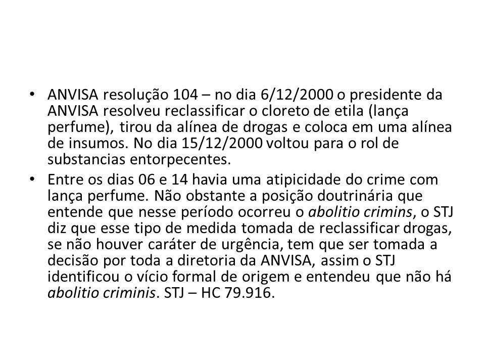 ANVISA resolução 104 – no dia 6/12/2000 o presidente da ANVISA resolveu reclassificar o cloreto de etila (lança perfume), tirou da alínea de drogas e