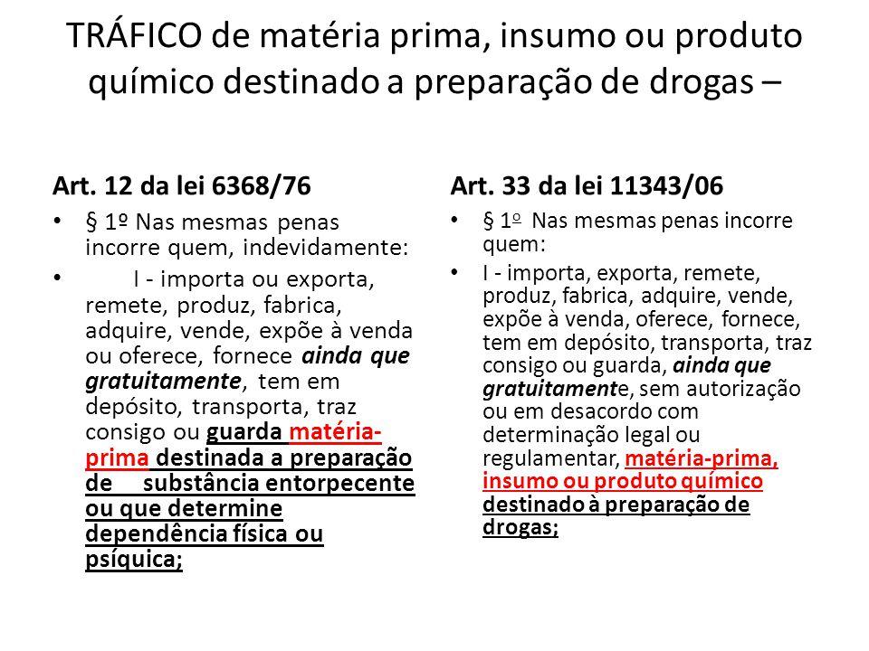 TRÁFICO de matéria prima, insumo ou produto químico destinado a preparação de drogas – Art. 12 da lei 6368/76 § 1º Nas mesmas penas incorre quem, inde