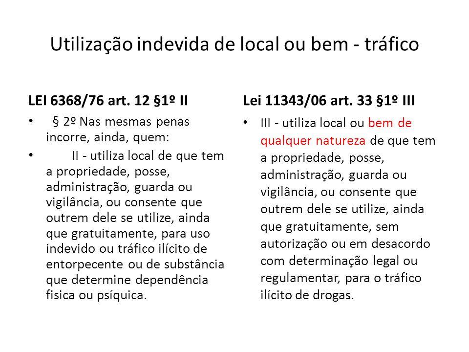 Utilização indevida de local ou bem - tráfico LEI 6368/76 art. 12 §1º II § 2º Nas mesmas penas incorre, ainda, quem: II - utiliza local de que tem a p