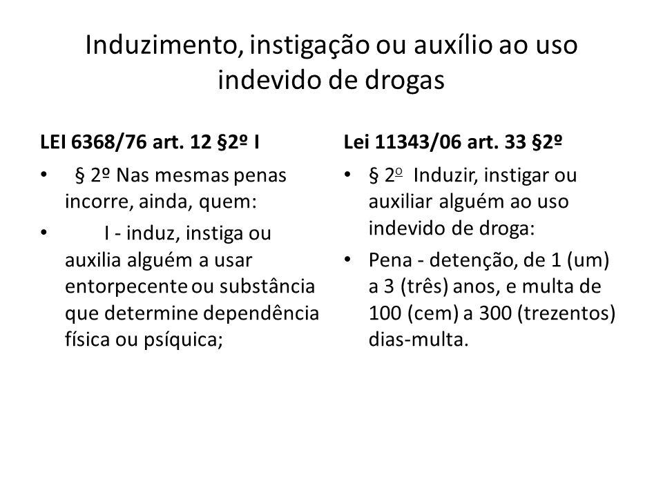Induzimento, instigação ou auxílio ao uso indevido de drogas LEI 6368/76 art. 12 §2º I § 2º Nas mesmas penas incorre, ainda, quem: I - induz, instiga