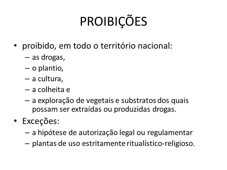 PROIBIÇÕES proibido, em todo o território nacional: – as drogas, – o plantio, – a cultura, – a colheita e – a exploração de vegetais e substratos dos