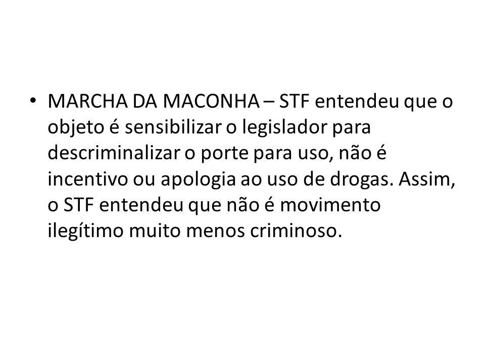 MARCHA DA MACONHA – STF entendeu que o objeto é sensibilizar o legislador para descriminalizar o porte para uso, não é incentivo ou apologia ao uso de