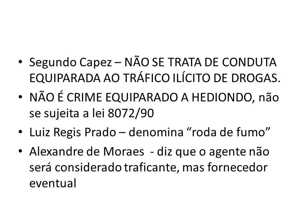 Segundo Capez – NÃO SE TRATA DE CONDUTA EQUIPARADA AO TRÁFICO ILÍCITO DE DROGAS. NÃO É CRIME EQUIPARADO A HEDIONDO, não se sujeita a lei 8072/90 Luiz