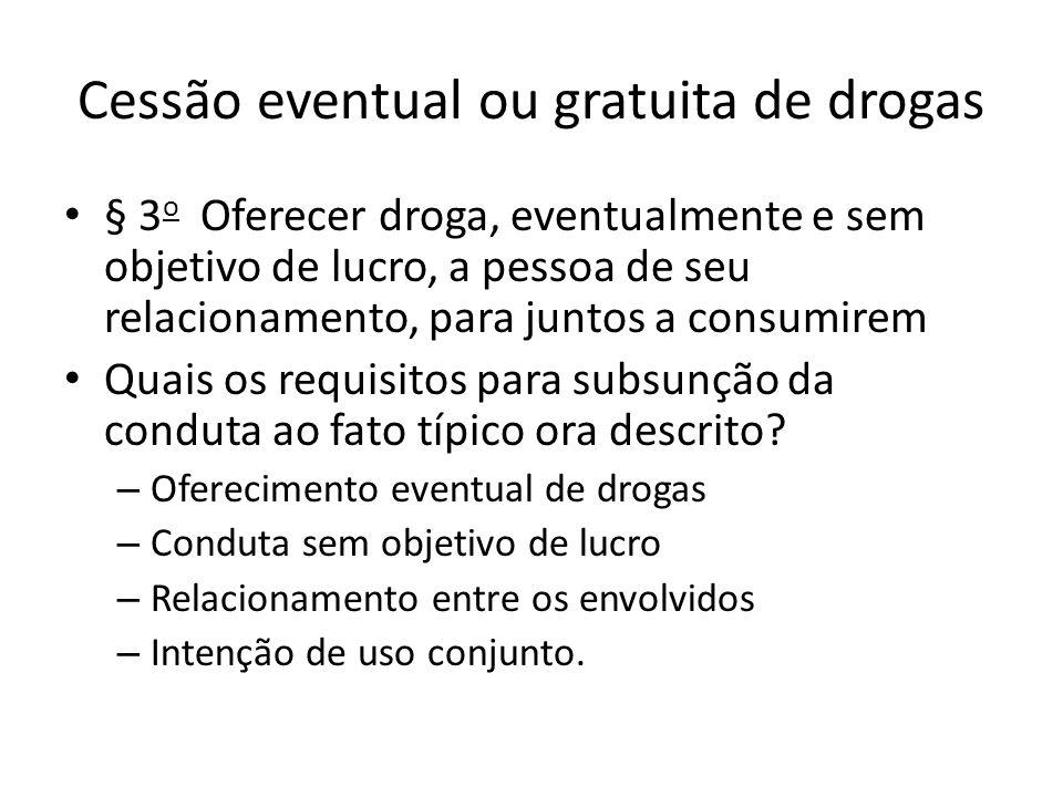 Cessão eventual ou gratuita de drogas § 3 o Oferecer droga, eventualmente e sem objetivo de lucro, a pessoa de seu relacionamento, para juntos a consu