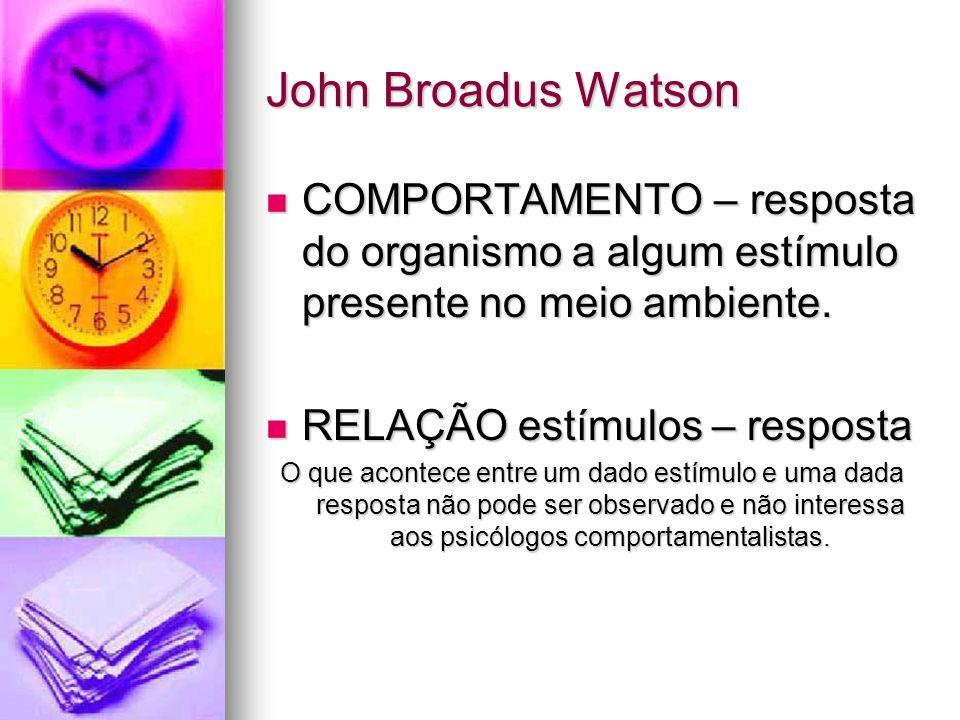 John Broadus Watson COMPORTAMENTO – resposta do organismo a algum estímulo presente no meio ambiente. COMPORTAMENTO – resposta do organismo a algum es