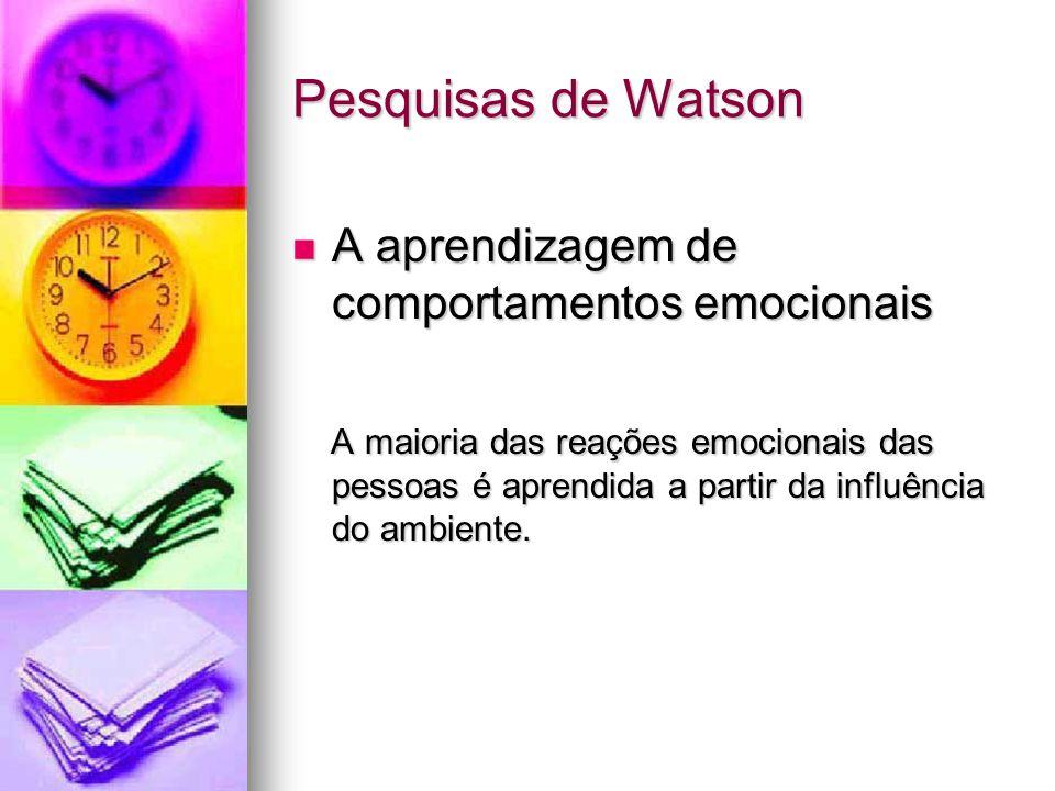 Pesquisas de Watson A aprendizagem de comportamentos emocionais A aprendizagem de comportamentos emocionais A maioria das reações emocionais das pesso
