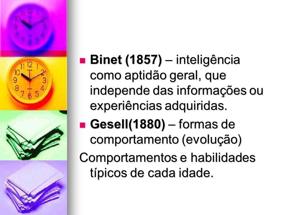 Binet (1857) – inteligência como aptidão geral, que independe das informações ou experiências adquiridas. Binet (1857) – inteligência como aptidão ger
