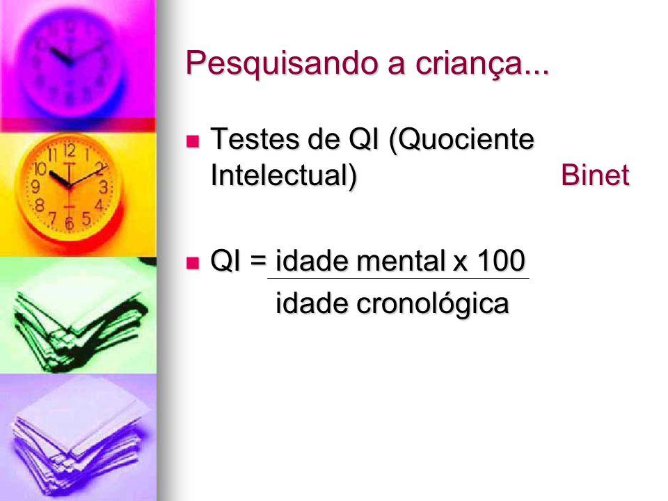 Pesquisando a criança... Testes de QI (Quociente Intelectual) Binet Testes de QI (Quociente Intelectual) Binet QI = idade mental x 100 QI = idade ment