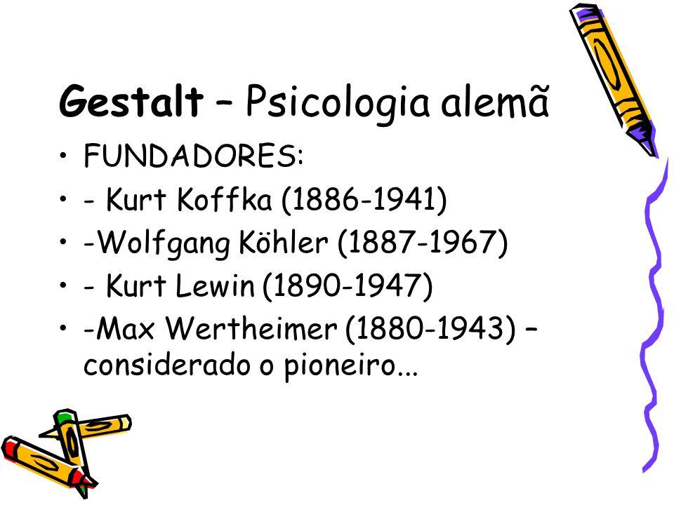 Gestalt – Psicologia alemã FUNDADORES: - Kurt Koffka (1886-1941) -Wolfgang Köhler (1887-1967) - Kurt Lewin (1890-1947) -Max Wertheimer (1880-1943) – c