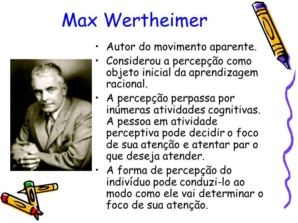 Max Wertheimer Autor do movimento aparente. Considerou a percepção como objeto inicial da aprendizagem racional. A percepção perpassa por inúmeras ati