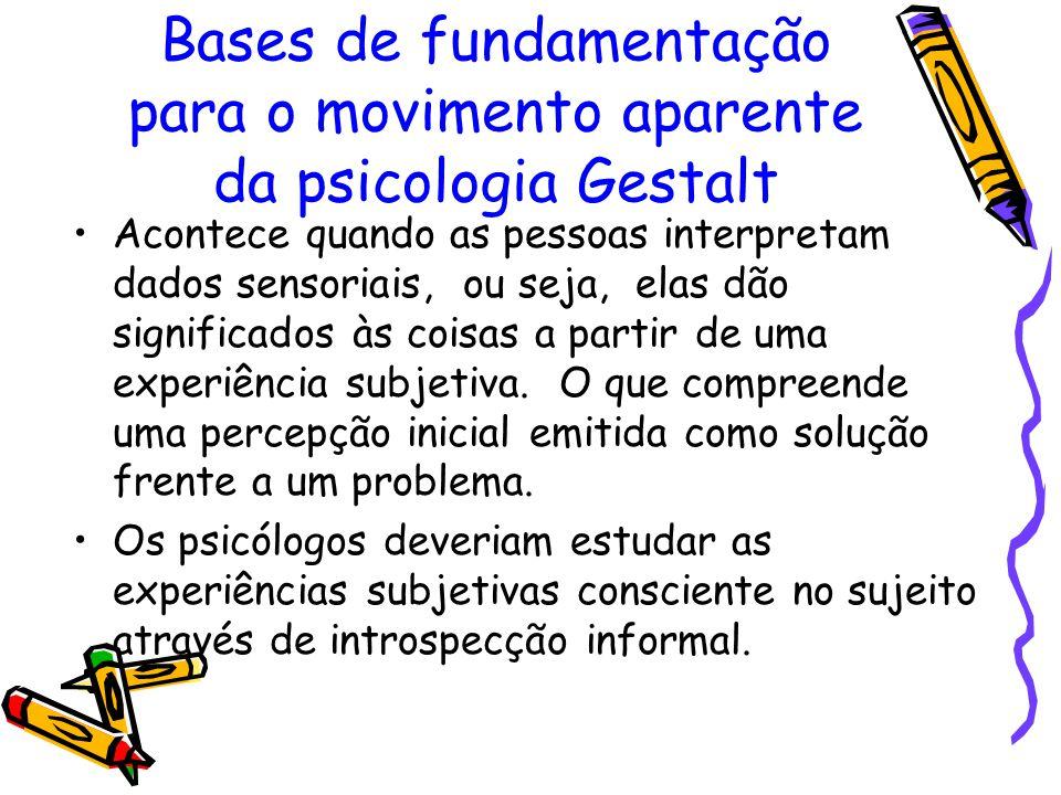Bases de fundamentação para o movimento aparente da psicologia Gestalt Acontece quando as pessoas interpretam dados sensoriais, ou seja, elas dão sign