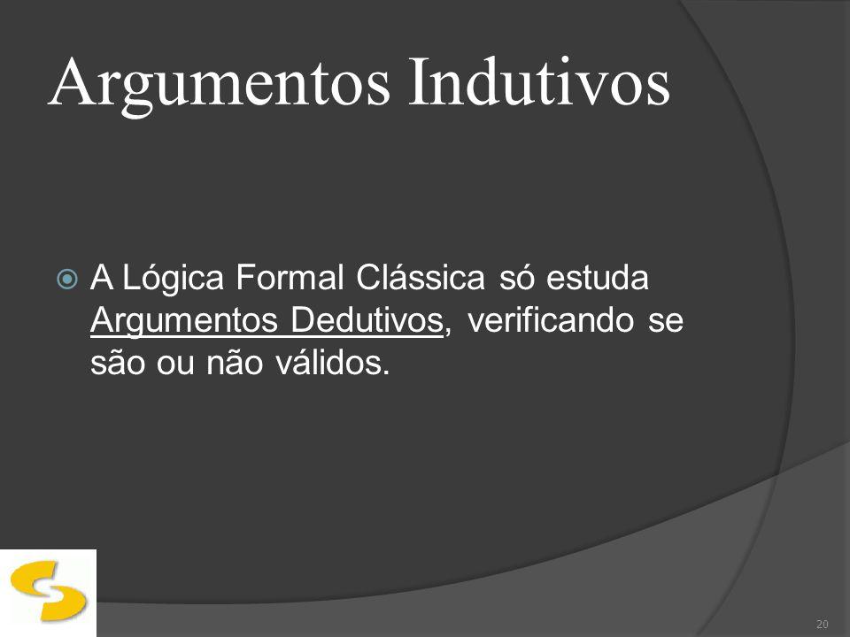 Argumentos Indutivos A Lógica Formal Clássica só estuda Argumentos Dedutivos, verificando se são ou não válidos. 20