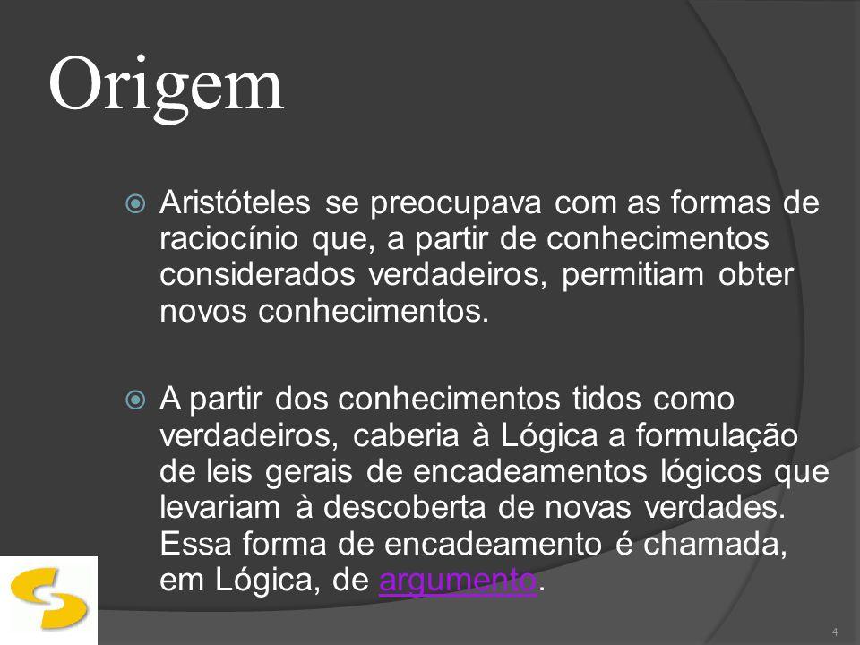 Argumento Um argumento é uma seqüência de proposições na qual uma delas é a conclusão e as demais são premissas.