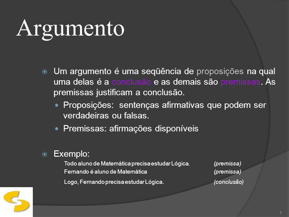 Argumento O objetivo de um argumento é justificar uma afirmação que se faz, ou dar as razões para uma certa conclusão obtida.