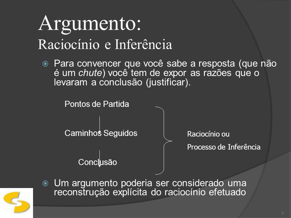 Argumento: Raciocínio e Inferência Inferência é a relação que permite passar das premissas para a conclusão (um encadeamento lógico) A palavra inferência vem do latim, Inferre, e significa conduzir para 8