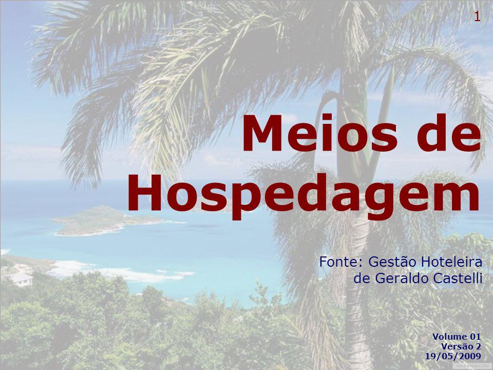 1 Meios de Hospedagem Fonte: Gestão Hoteleira de Geraldo Castelli Volume 01 Versão 2 19/05/2009