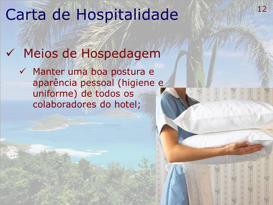 13 Carta de Hospitalidade Meios de Hospedagem Fazer o viajante sentir-se bem-vindo Um olhar nos olhos Um sorriso discreto Uma saudação adequada bom-dia boa-tarde boa-noite