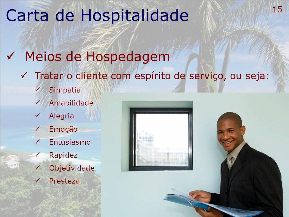 16 Carta de Hospitalidade Meios de Hospedagem Reconhecer e antecipar as necessidades, os desejos e as expectativas dos clientes;