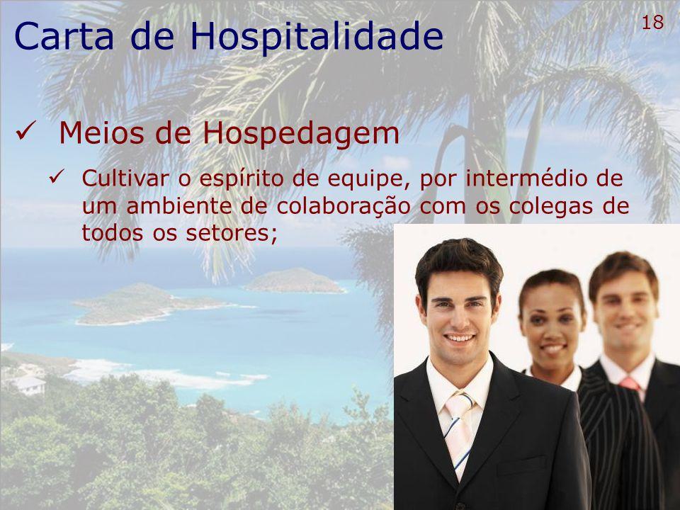 19 Carta de Hospitalidade Meios de Hospedagem Saber ouvir a voz dos clientes;