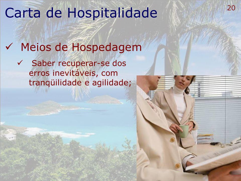 21 Carta de Hospitalidade Meios de Hospedagem Estar bem informado para informar;