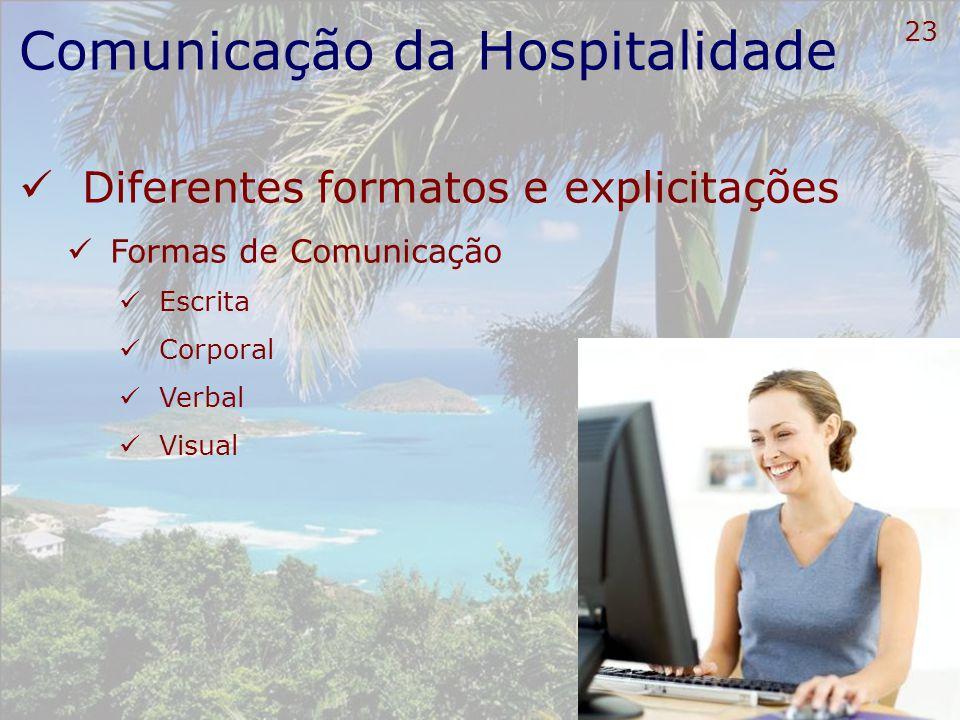 24 Comunicação da Hospitalidade Diferentes formatos e explicitações Processamento da comunicação Palavras Idéias Sinais e Símbolos Estímulos e Experiências Vontades Emoções