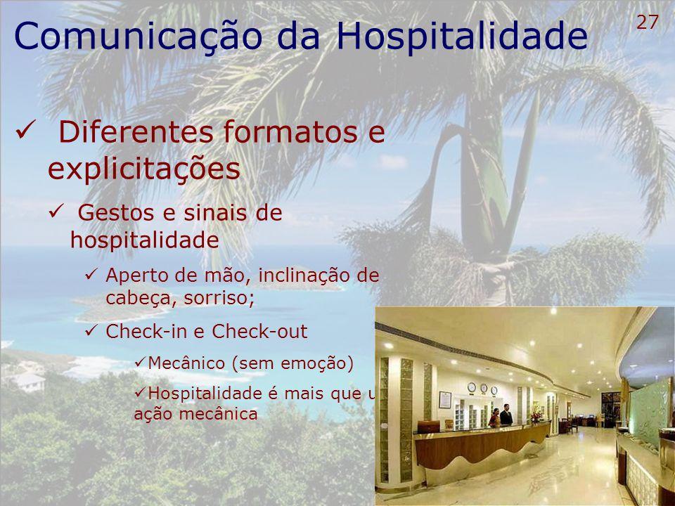28 Comunicação da Hospitalidade Diferentes formatos e explicitações Forma de comunicação na Hotelaria O sorriso não compensa Desorganização Desleixo Falta de limpeza e de higiene