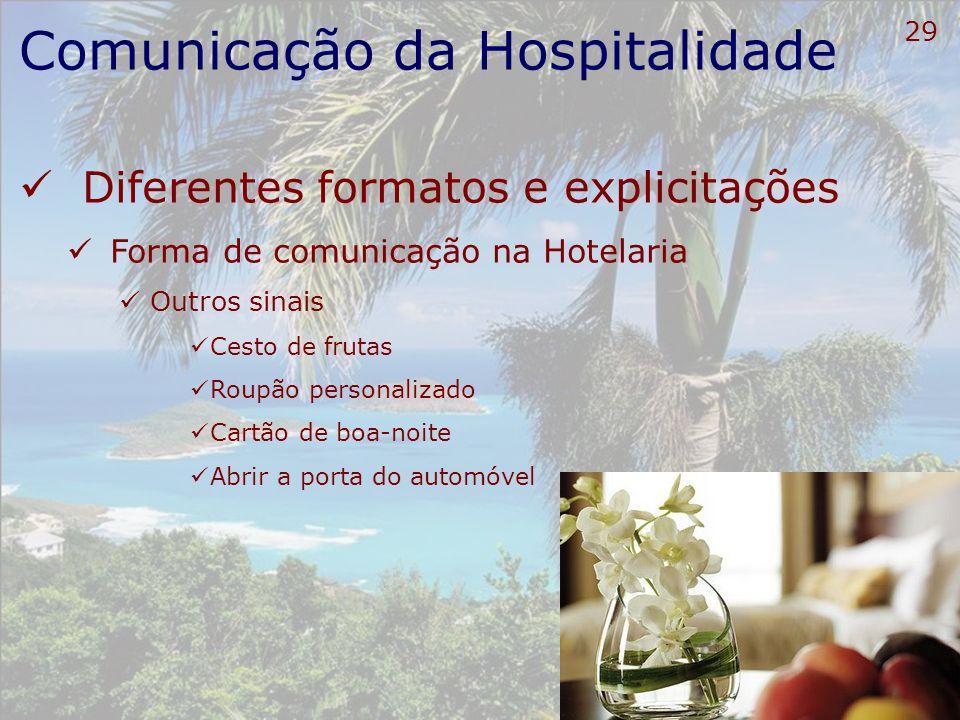 30 Comunicação da Hospitalidade Diferentes formatos e explicitações Forma de comunicação na Hotelaria Incluir estes sinais nos POPs Procedimentos Operacionais Padrão
