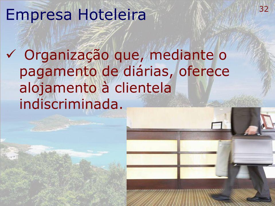 33 Empresa Hoteleira Considera-se empresa hoteleira Pessoa Jurídica Sociedade anônima Sociedade por cotas de responsabilidade limitada Explore ou administre meio de hospedagem Objetivo social o exercício da atividade hoteleira.
