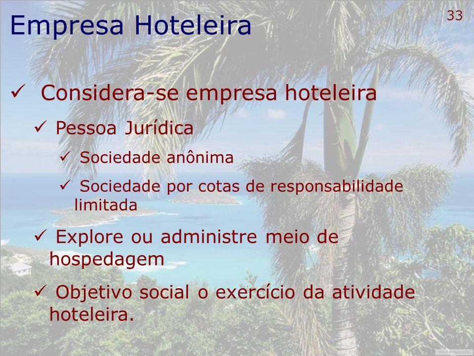34 Empresa Hoteleira Serviços de hospedagem Prestados por estabelecimentos empresariais Ofertam alojamento temporário para hóspedes Adotam contrato de hospedagem Cobram diárias pela ocupação da Unidade Habitacional (UH)