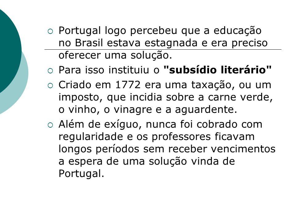 Portugal logo percebeu que a educação no Brasil estava estagnada e era preciso oferecer uma solução. Para isso instituiu o