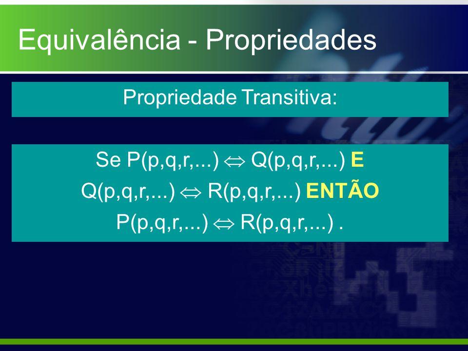 Equivalência - Propriedades Propriedade Transitiva: Se P(p,q,r,...) Q(p,q,r,...) E Q(p,q,r,...) R(p,q,r,...) ENTÃO P(p,q,r,...) R(p,q,r,...).
