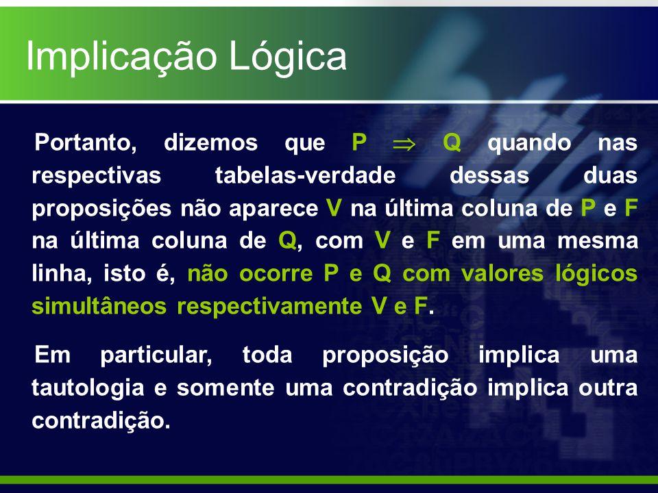 Tautologia Equivalência Lógica Teorema: P(p,q,r,...) é EQUIVALENTE à Q(p,q,r,...) se e somente se a bicondicional P Q é tautológica.