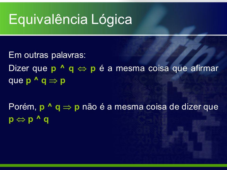Equivalência Lógica Em outras palavras: Dizer que p ^ q p é a mesma coisa que afirmar que p ^ q p Porém, p ^ q p não é a mesma coisa de dizer que p p