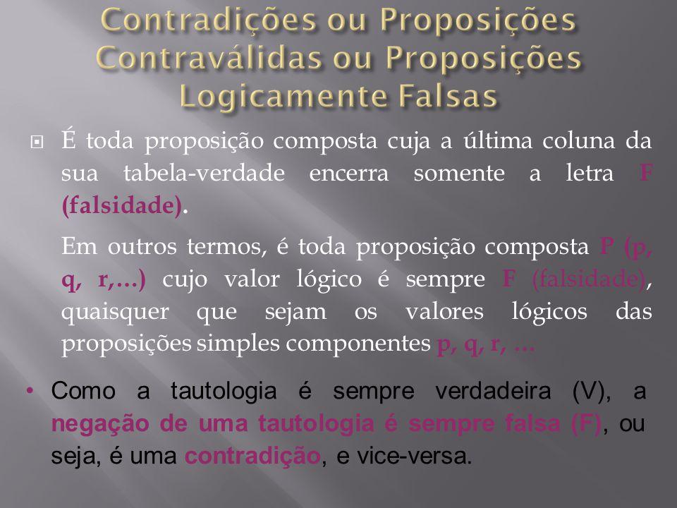 É toda proposição composta cuja a última coluna da sua tabela-verdade encerra somente a letra F (falsidade).