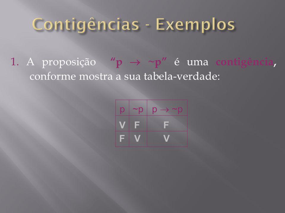 1. A proposição p ~p é uma contigência, conforme mostra a sua tabela-verdade: p~p p ~p F V V F V F