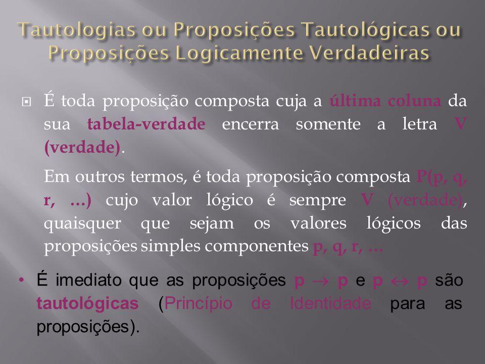 É toda proposição composta cuja a última coluna da sua tabela-verdade encerra somente a letra V (verdade).