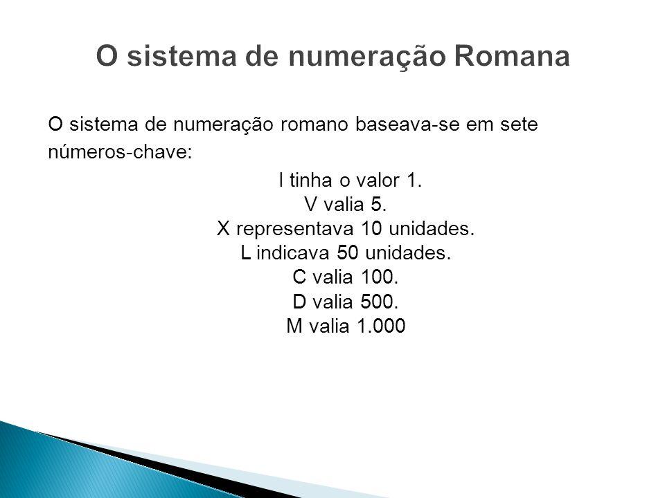 O sistema de numeração romano baseava-se em sete números-chave: I tinha o valor 1. V valia 5. X representava 10 unidades. L indicava 50 unidades. C va