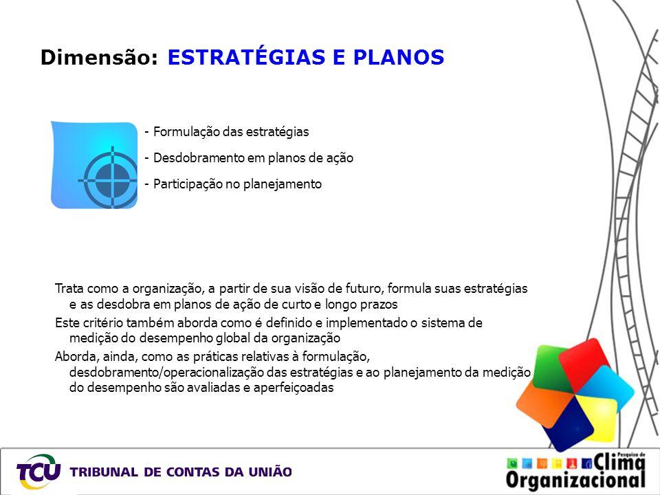 Dimensão: ESTRATÉGIAS E PLANOS - Formulação das estratégias - Desdobramento em planos de ação - Participação no planejamento Trata como a organização,