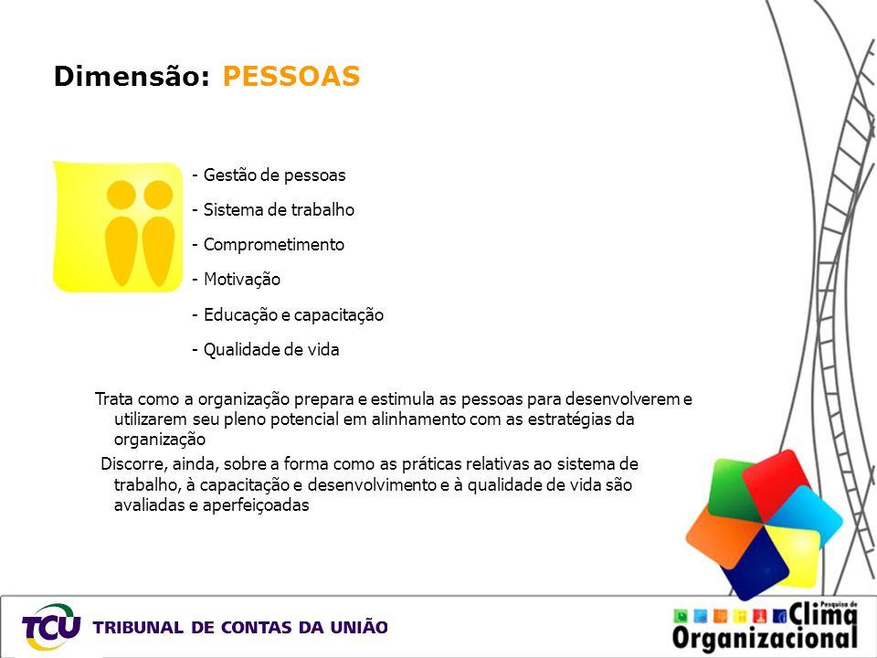Dimensão: PESSOAS - Gestão de pessoas - Sistema de trabalho - Comprometimento - Motivação - Educação e capacitação - Qualidade de vida Trata como a or