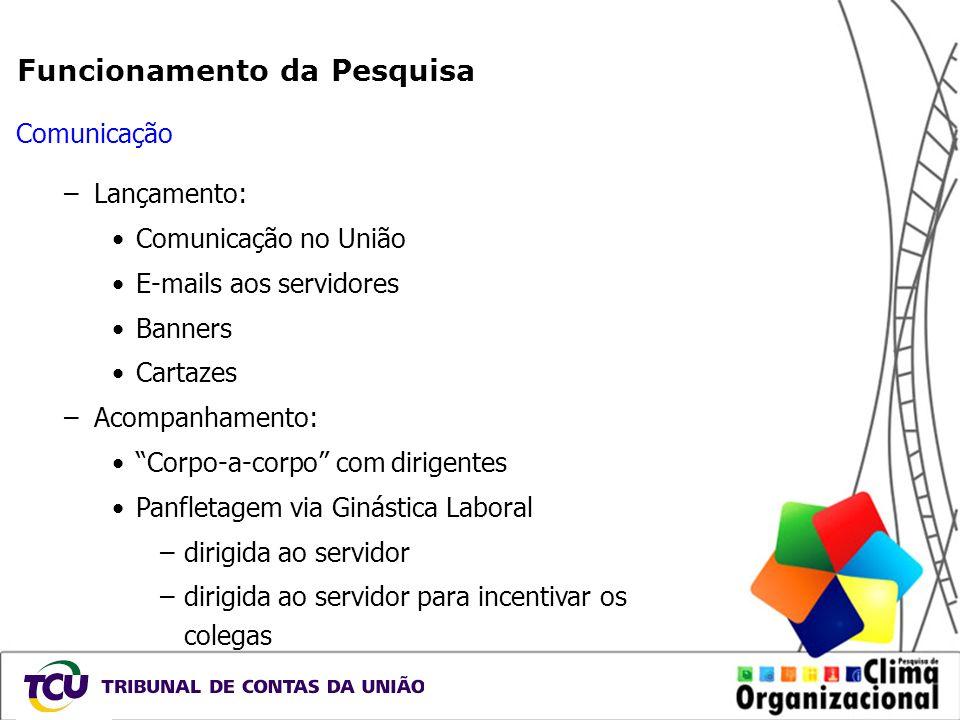 Funcionamento da Pesquisa Comunicação –Lançamento: Comunicação no União E-mails aos servidores Banners Cartazes –Acompanhamento: Corpo-a-corpo com dir