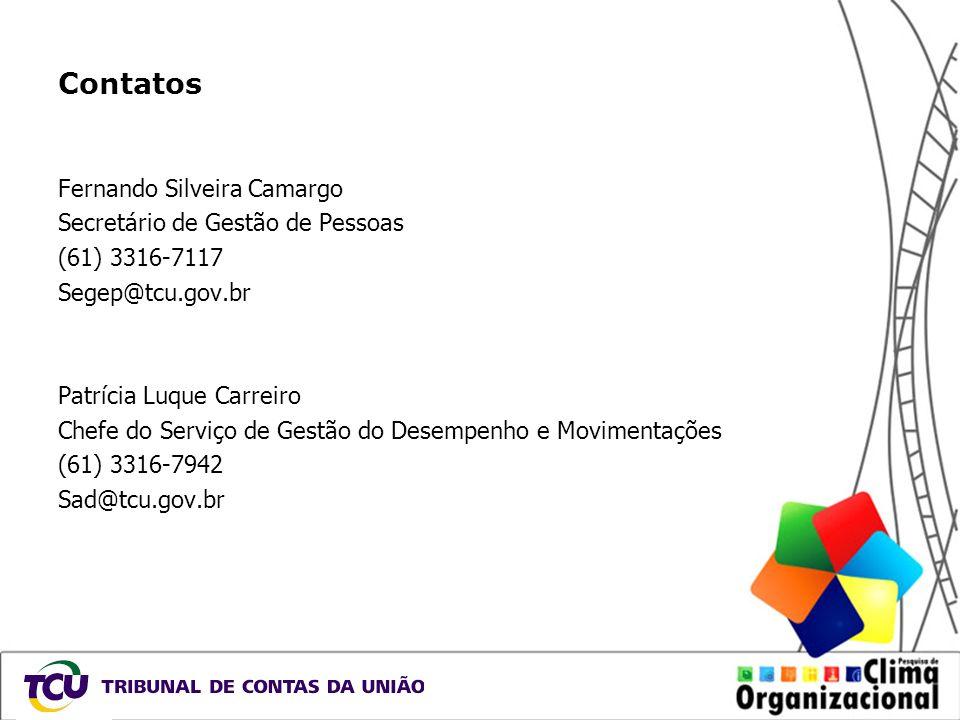 Contatos Fernando Silveira Camargo Secretário de Gestão de Pessoas (61) 3316-7117 Segep@tcu.gov.br Patrícia Luque Carreiro Chefe do Serviço de Gestão