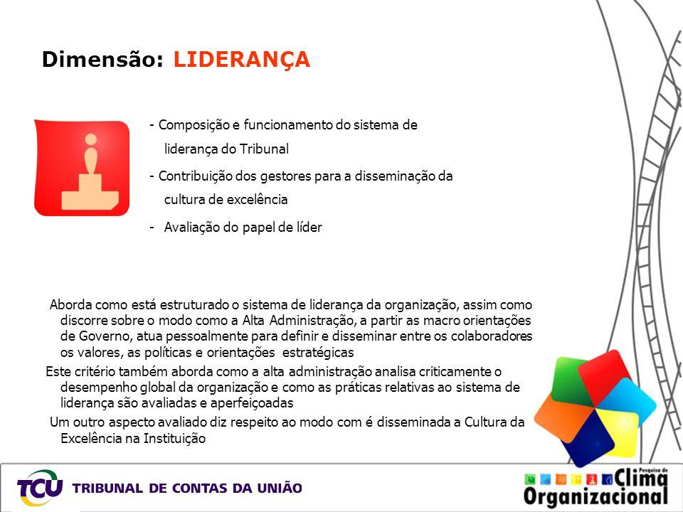 Dimensão: LIDERANÇA - Composição e funcionamento do sistema de liderança do Tribunal - Contribuição dos gestores para a disseminação da cultura de exc
