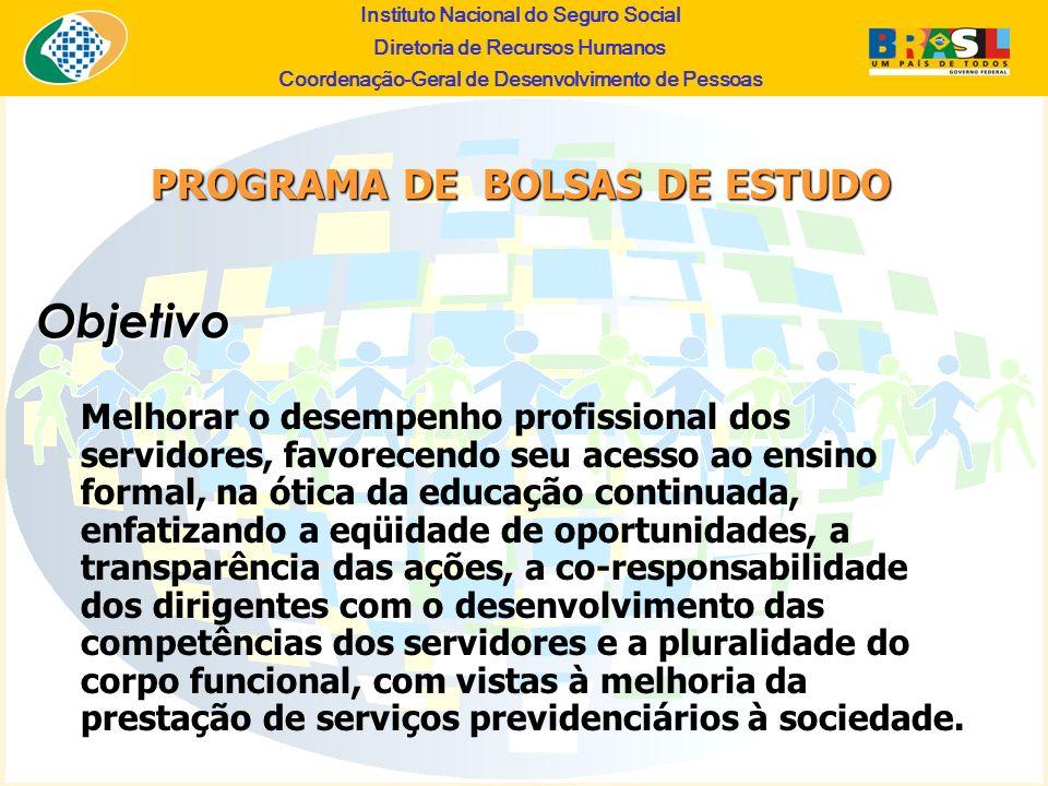 Instituto Nacional do Seguro Social Diretoria de Recursos Humanos Coordena ç ão-Geral de Desenvolvimento de Pessoas Objetivo PROGRAMA DE BOLSAS DE EST